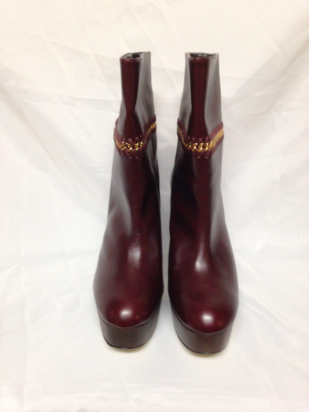 Stella McCartney Chain Embellished Faux Leather 41 US 11 Plum Barolo NIB