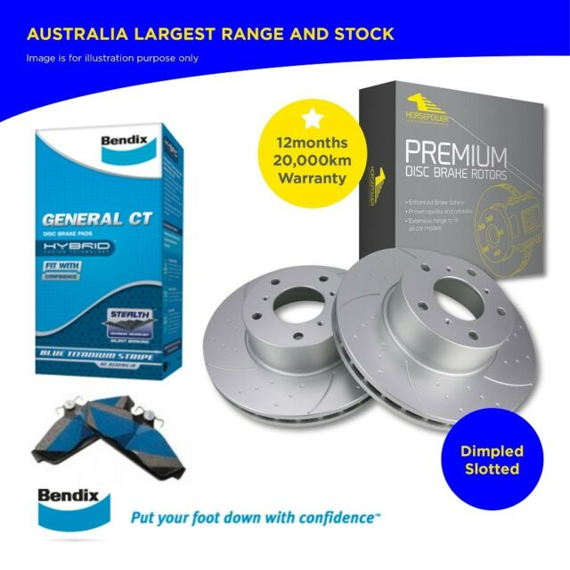 Holden COMMODORE VT VX VY VZ Front Bendix Brake Pads and Dimple Slotted Rotors