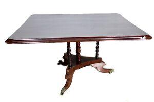 Tavolo Da Pranzo Antico In Legno Massello Di Mogano Inglese Sala Salotto Mobile Ebay