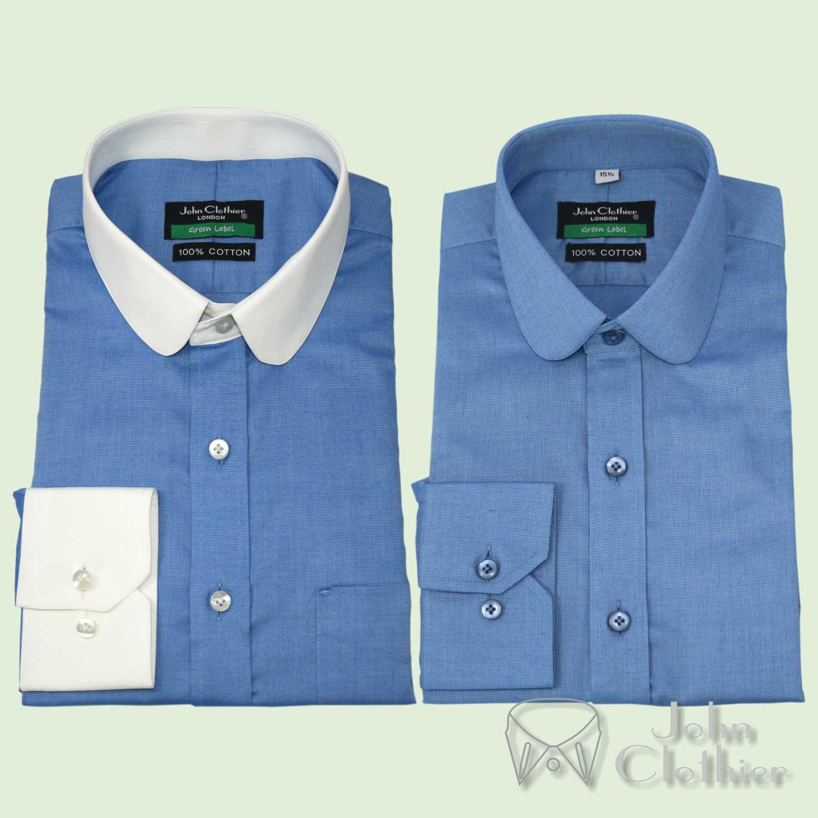 herren baumwolle Penny halsband hemd Blau tiny checks Club halsband Gents Classic hemd