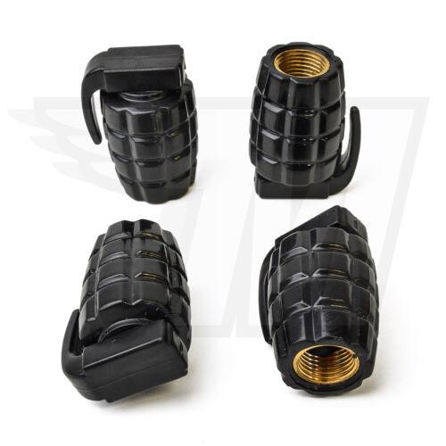 4x válvula capuchón de plástico para coche neumáticos neumáticos de bicicletaGranada negro