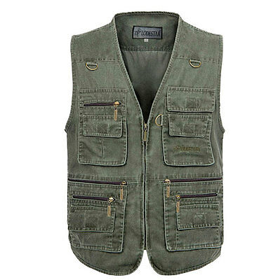 Outdoor 16 pocket Fishing Vest Hiking Photography Canvas Vest Waistcoat Big Size
