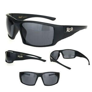 27b6b06eeb0 Locs Mens All Black Rectangular 90s Biker Cholo Gangster Plastic ...