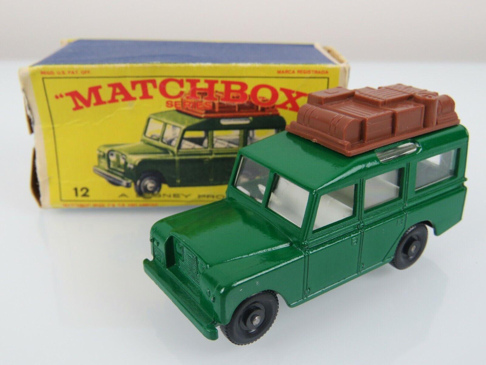 Lesney Matchbox Matchbox 1965  12 Safari Land Rover Green Regular wheels w Original Box