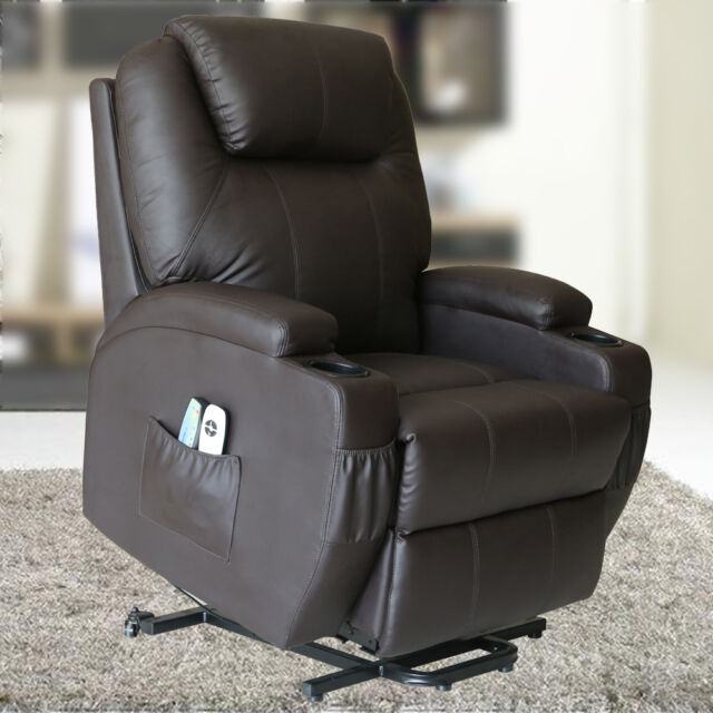 Beau Power Recliner Lift Electric Massage Chair Vibration Heated Sofa Lounge  Brown