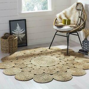 Jute-Rug-Bohemian-Reversible-3x3-feet-Vintage-Area-Dhurrie-Boho-Carpet-Mat-Rug