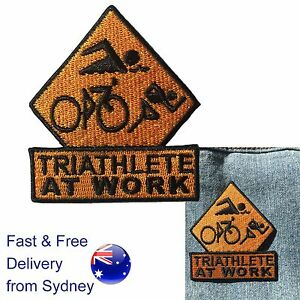Triathlete-at-work-iron-on-patch-sport-run-swim-cycle-triathlon-training-patches