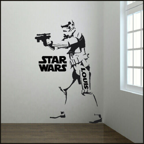 LARGE PERSONALISED 6FT STORM TROOPER STAR WARS STARWARS WALL STICKER WITH LOGO