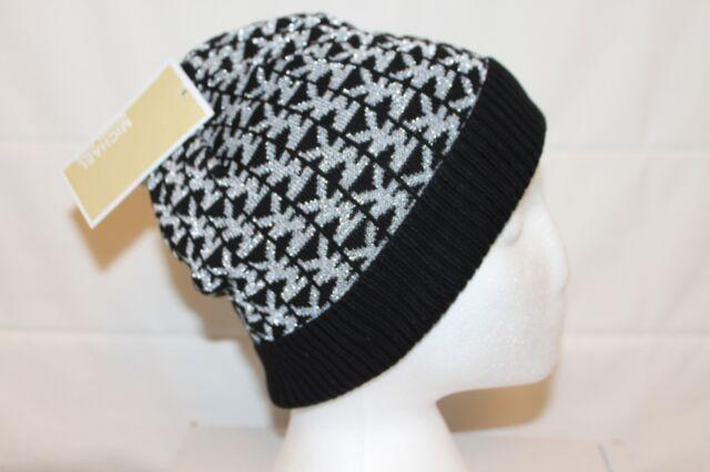9ba0cbf1ab Michael Kors MK Monogram Knit Beanie Cap Women s Black Silver Hat MSRP  42  NEW