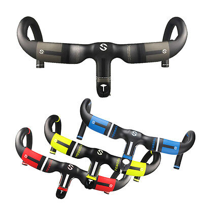 TOSEEK Carbon AERO Integrated Uplift Style Handlebar B With Stems For Road Bike