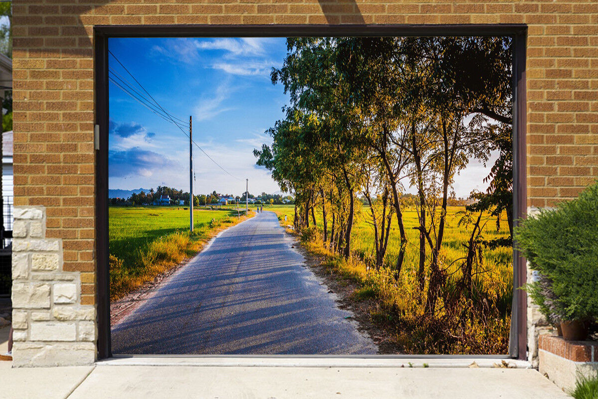 3D  Sky Field Road 533  Garage Door Murals Wall Print Wall AJ WALLPAPER UK Lemon