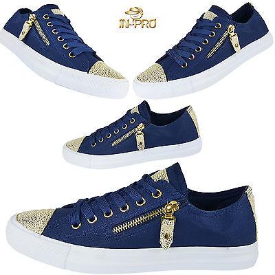 Glitzer Damen Sneakers Low Metallic D.Blau Flats Turnschuhe Schnürer Glitzer