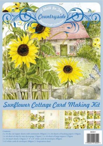 Creative World Card Making Kit Countryside Papercraft Sunflower Cottage