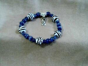 Hope Ribbon Periwinkle & Zebra Bracelet for Rare Disease Awareness