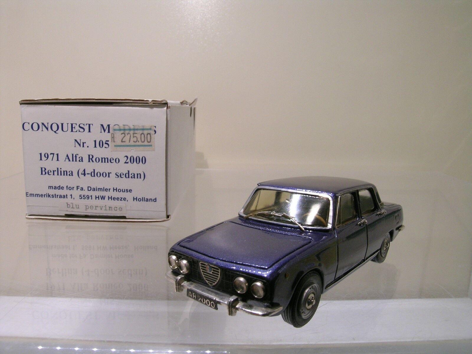 CONQUEST MODELS No.105 ALFA ROMEO 2000 BERLINA 4DR. 1971 MET. azul HANDB.1 43