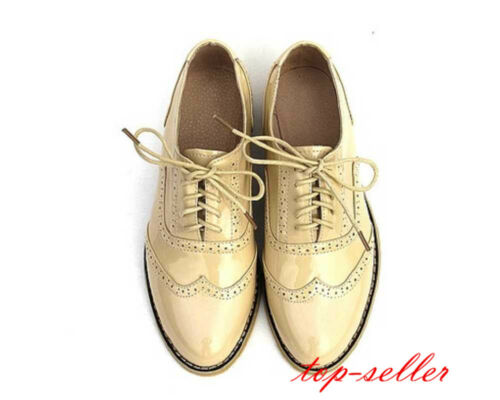 8 Colors US Size 4-10 Womens Leather Lace Up Formal Dress Oxfords Wing Tip Shoes