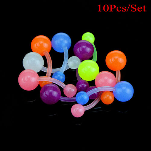 1Set Lumineux Flexible Navel Bar Anneaux Mixte Belly Button Piercing Corps Bijoux G