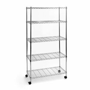 "65x36x14"" Commercial 5 Tier Shelf Adjustable Wire Metal Shelving Rack w/ Rolling"