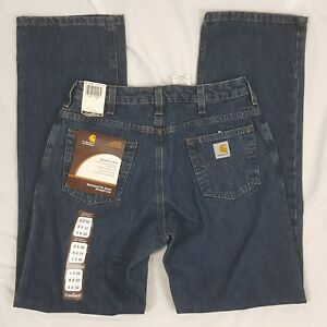 7dc8373c29a CARHARTT women s relax fit straight leg mid rise work blue jeans NWT ...