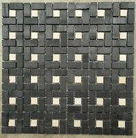 Mosaic Marble Stone Tiles 30x30 Naturel Wall Black White Nero Marquina M520, NEW