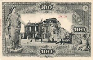 EARLY-1900-039-s-VINTAGE-SWITZERLAND-100-FRANKEN-BANKNOTE-POSTCARD-ZURICH-THEATRE