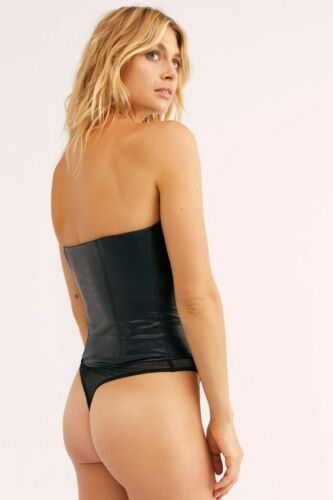 NEW FREE PEOPLE Sz S PARTY LIKE A VEGAN FAUX LEATHER V WIRE BODYSUIT BLACK