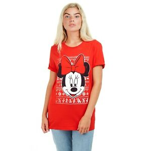 Disney-Minnie-Mouse-Christmas-Ladies-T-shirt-Red