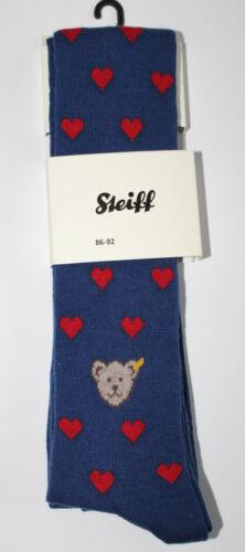 STEIFF® Mädchen Teddy Strumpfhose Hose Herzen Blau 62-116 Bär H//W NEU!