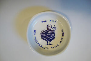 Rosenthal Porcelain Small Ash Tray *Les Restaurants Tavan-Montreal* - White/Blue