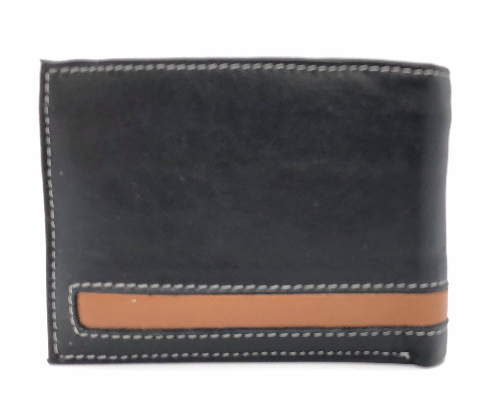 Black Handcrafted Premium Cowhide Genuine Leather Men's Bifold Wallet