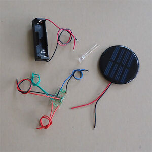 Solar Auto Light Diy Kit Round Solar Panel One Led White