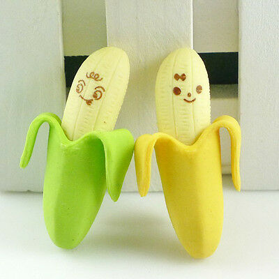 Wholesale 2pcs Novelty Banana Style Pencil Eraser Rubber Stationery Kid Gift Toy