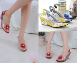 Womens-Open-Toe-Flower-Rhinestone-Clear-Sandals-Wedge-Slipper-Shoes-Casual-Party