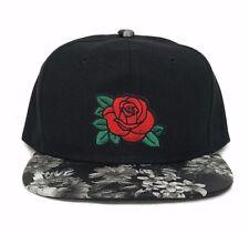 Rose Embroidery Floral Print Snapback Hat Baseball Cap Flower Flat Bill Hip Hop