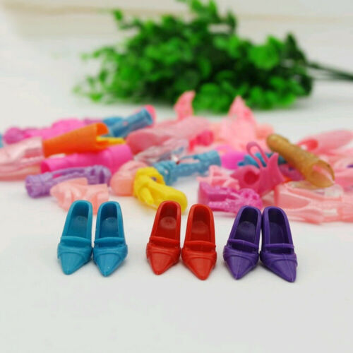 40 Pairs Different High Heel Shoes Boot For Doll Dress Clothes Dress Up Random G