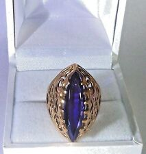 Vintage Soviet Rose Gold Ring 14K 583 Sapphire US Size 8 Russian USSR