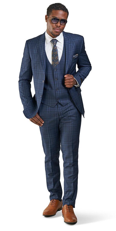 Slim Fit 2 Button 3 Piece Vested Mens Suit Navy bluee Windowpane 35071 AZARMAN
