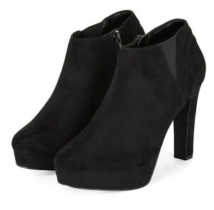 WOMENS NEW LOOK SIZE 9 42 BLACK TRANSVESTITE HIGH HEEL ANKLE SHOE BOOTS SHOES