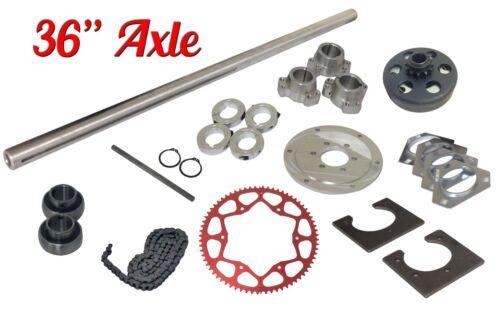 "Drift Trike 1-1//4/"" x 36/"" Axle Kit w// clutch #35 Chain Sprocket Wheel Hubs Parts"