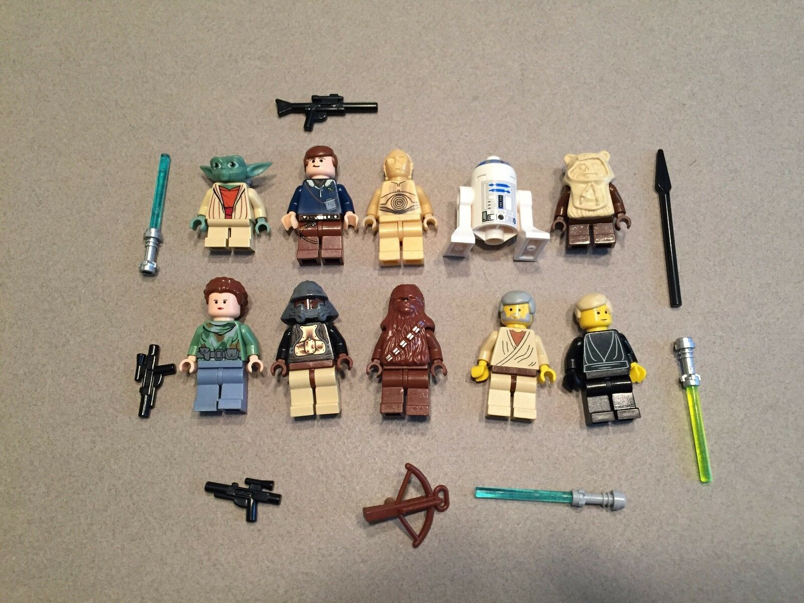 LEGO lot of 10 Star Wars Good Guy Minifigs Yoda Luke Leia Han R2-D2 Chewie E377