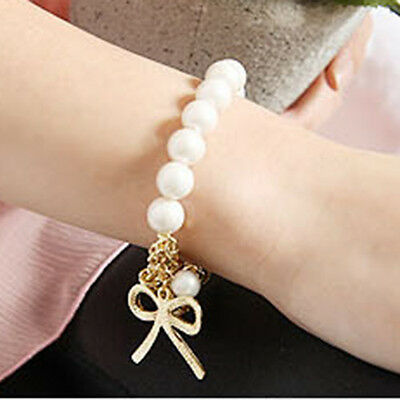 Charm Fashion Women's Bowknot Pearl Butterfly Stretchy Bracelet Bangle Siliver