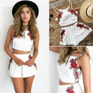 Women Two Piece Bodycon Romper Crop Top Shorts Jumpsuit Summer ... 1dbc9e2c9