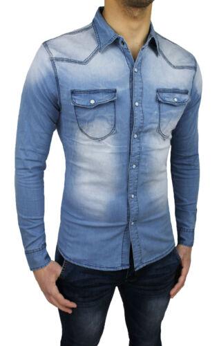 Aderente Di Fit Da S Xxxl A Camicia Uomo Casual Nuova Denim Slim Jeans Cotone 4F8qn8xSH
