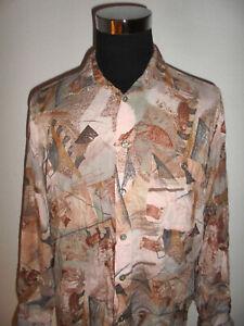 vintage-JUPITER-80er-Jahre-Viskose-Hemd-crazy-pattern-gemustert-oldschool-L