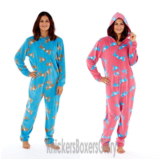 Ladies girls hooded soft micro fleece all in one jumpsuit nightwear pyjamas