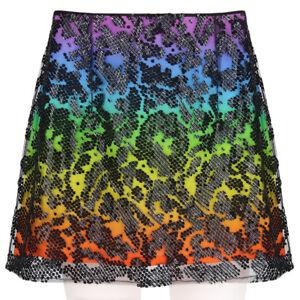 Christopher-Kane-Black-Sequin-Sheer-Mesh-Overlay-Rainbow-Skirt-UK12-IT44