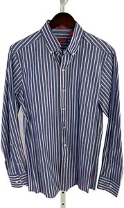 Izod-Mens-Small-SLIM-FIT-Blue-Striped-Long-Sleeve-Button-Front-Shirt-D-60
