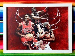 Framed-MICHAEL-JORDAN-SCOTTIE-PIPPEN-DENNIS-RODMAN-Chicago-Bulls-NBA-Poster
