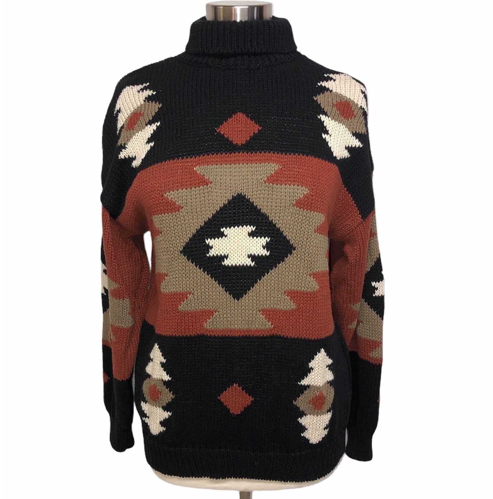 MC II Women's Vintage Sweater Black Brown Geometric Tribal Large Long Sleeve