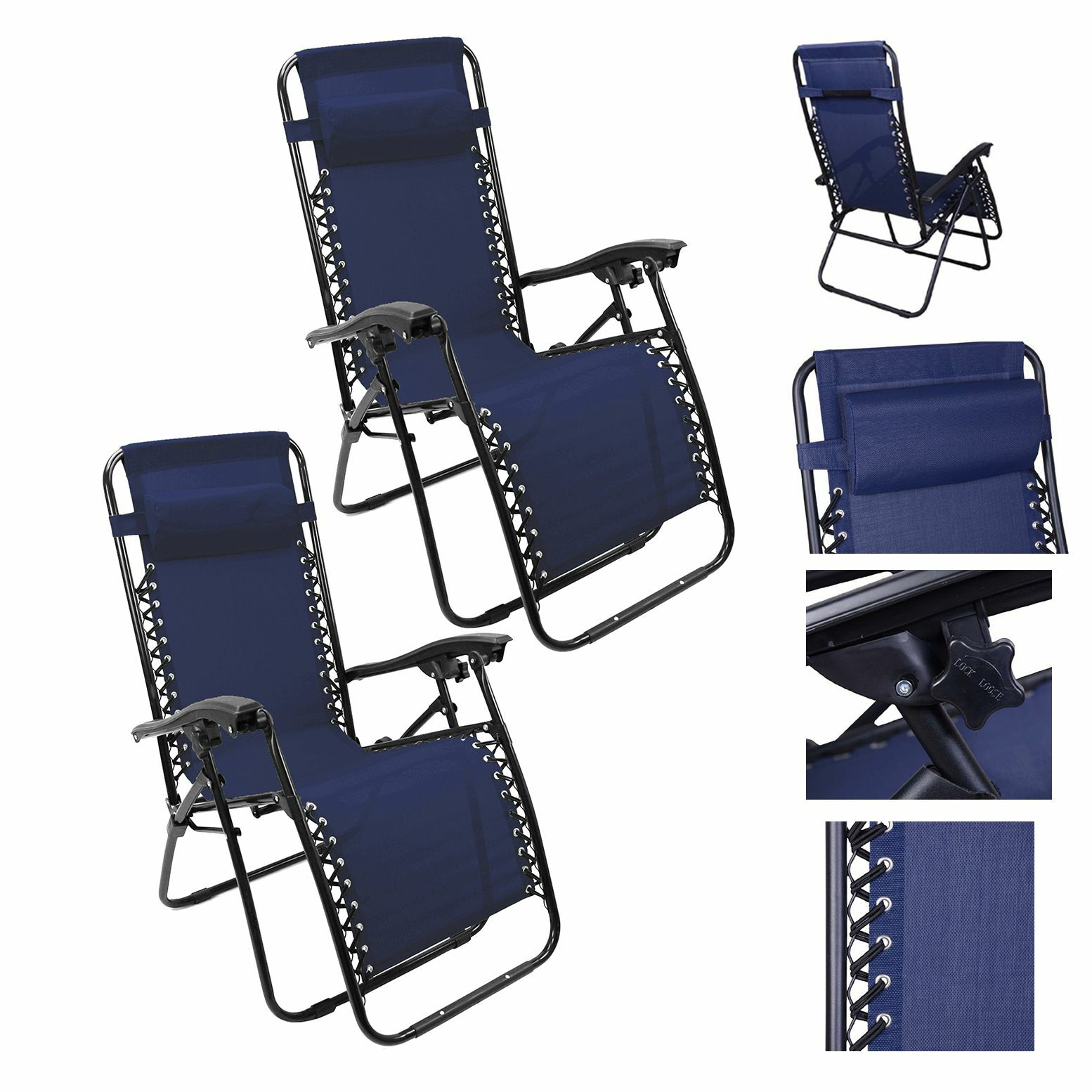 Fine Details About Lounge Chair Recliner Sun Patio Pool Beach Outdoor Folding Chair 1Pair Navy Blue Ocoug Best Dining Table And Chair Ideas Images Ocougorg